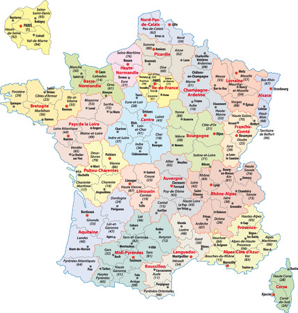 フランスの行政地図  イラスト・ベクター素材