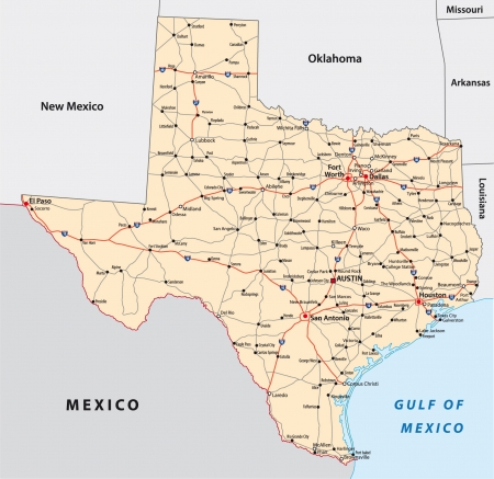 road map: texas road map Illustration