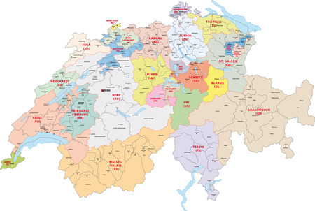 switzerland administrative map 向量圖像