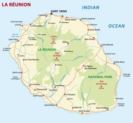 national parks: la reunion road map Illustration