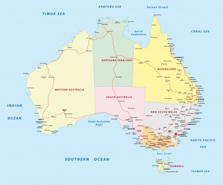 western australia: Australia road map Illustration