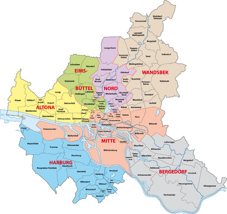 Hamburg administrative map