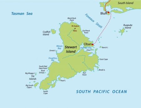 south pacific: Stewart island map