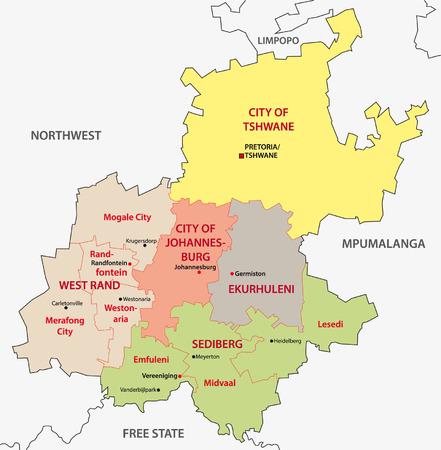 gauteng: Gauteng administrative map