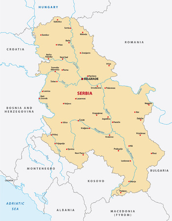 serbien: Serbien Karte Illustration