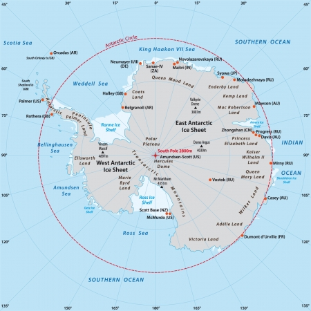 Antarctic map Vector