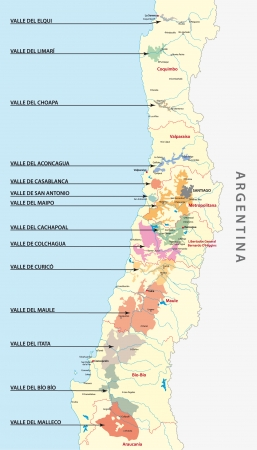 lake argentina: Chilean wine country map
