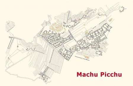 mapa del peru: Mapa de Machu Picchu Vectores