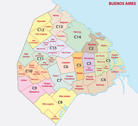 lake district: Buenos Aires administrative map