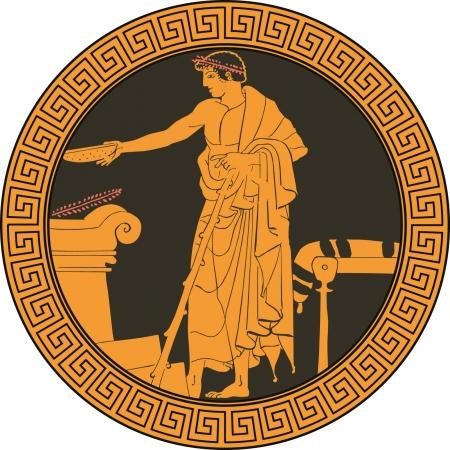Plato griego antiguo Ilustración de vector