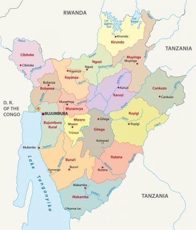bujumbura: Burundi administrative map Illustration