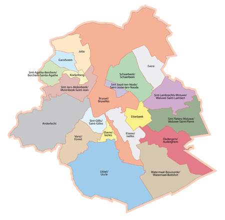 municipalities: Brussels-capital region, administrative map Illustration