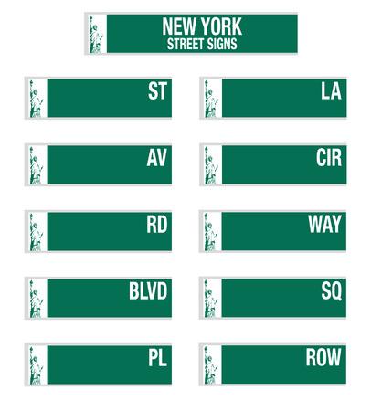 square detail: Letreros de las calles de Nueva York