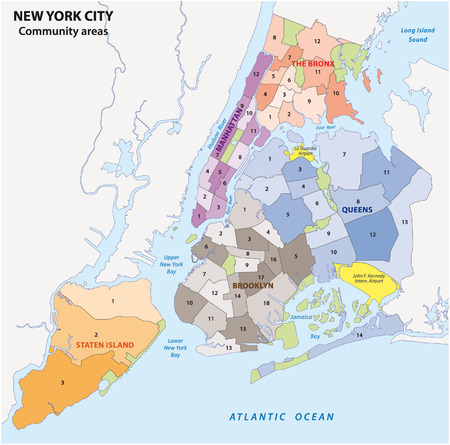 new york: New York City, boroughs, community areas, neighborhoods, map Illustration
