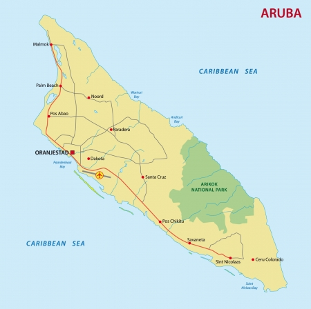 Aruba Road Map With Flag Royalty Free Cliparts Vectors And Stock - Aruba and us map