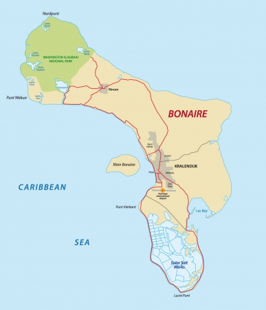 national parks: bonaire map Illustration
