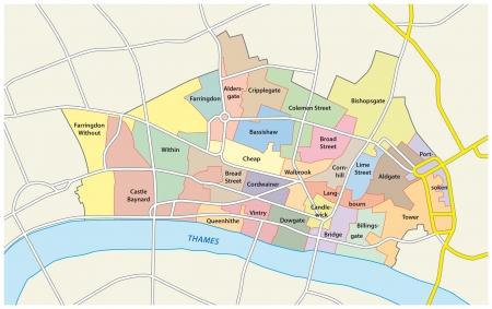 england map: city of london, administrative map