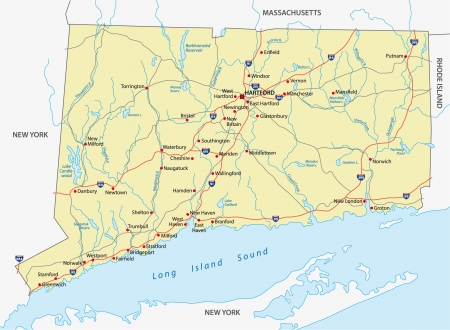 Connecticut road map Illustration