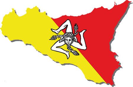 vlag van Sicilië Stock Illustratie