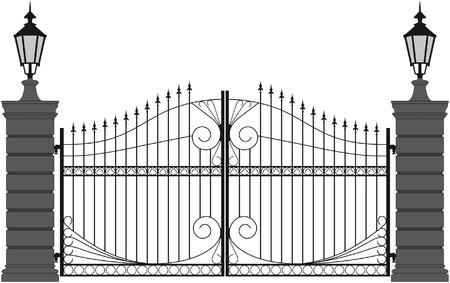 wrought iron: iron gate