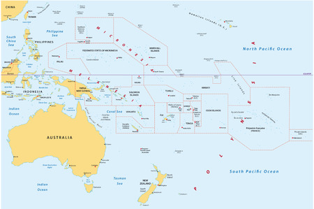 new zealand: map of oceania