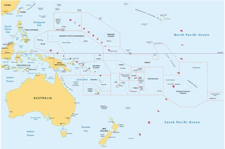 Nuova Guinea: Mappa di Oceania Vettoriali