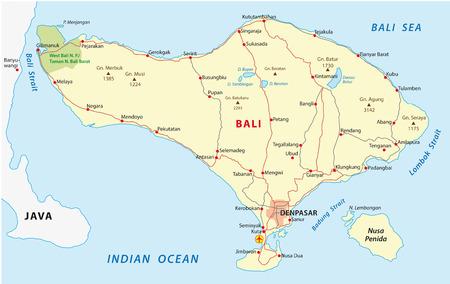 Bali wegenkaart Stock Illustratie