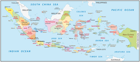 indonesian: administrative map of indonesia Illustration