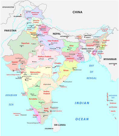 india administrative map Illustration