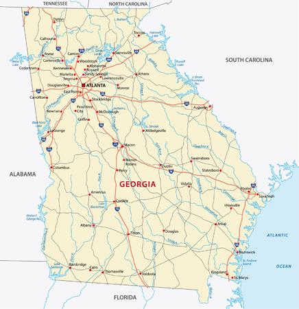 norte: georgia hoja de ruta Vectores
