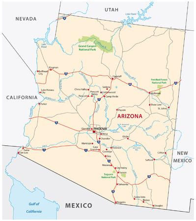 アリゾナ州道路地図  イラスト・ベクター素材