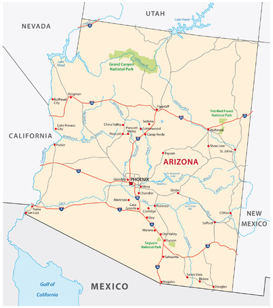 state of arizona: arizona road map