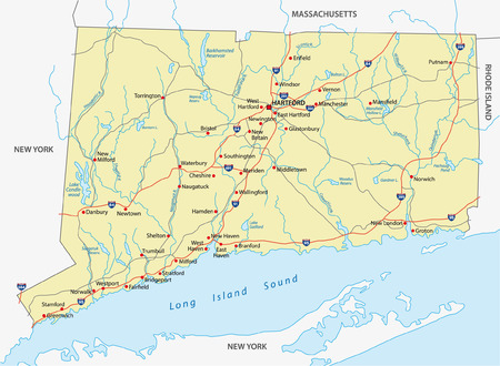 Connecticut Administrative Map Royalty Free Cliparts Vectors And - Road map new york