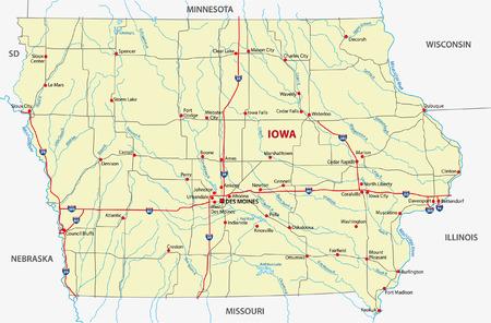 iowa road map Vector