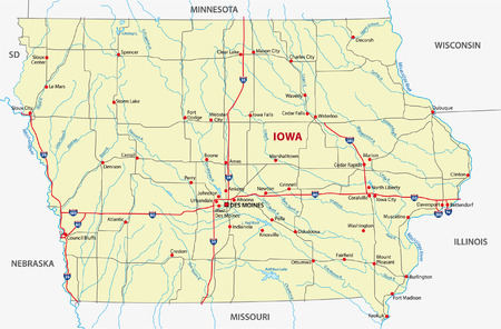 iowa: iowa road map Illustration