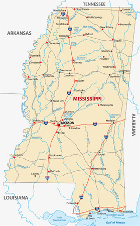 mississippi road map Vector