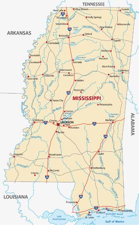 alabama: mississippi road map Illustration