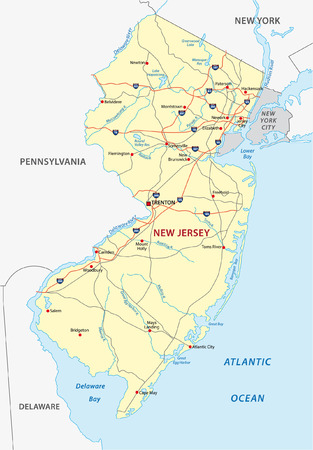new york map: new jersey road map