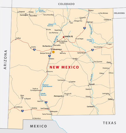 mexico map: new mexico road map Illustration