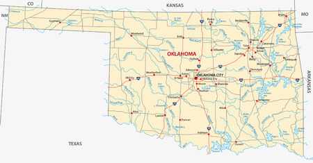 oklahoma road map Vector