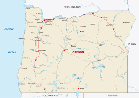 portland oregon: oregon road map