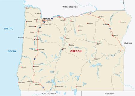 oregon coast: oregon road map