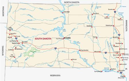 south dakota road map Vector