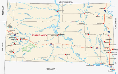 south dakota road map 版權商用圖片 - 32312447