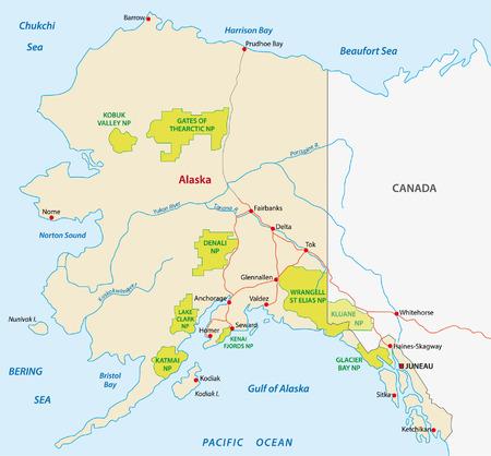 kodiak: alaska mapa de parques nacionales Vectores