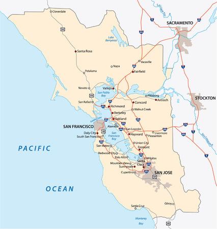 san francisco bay area map Vector