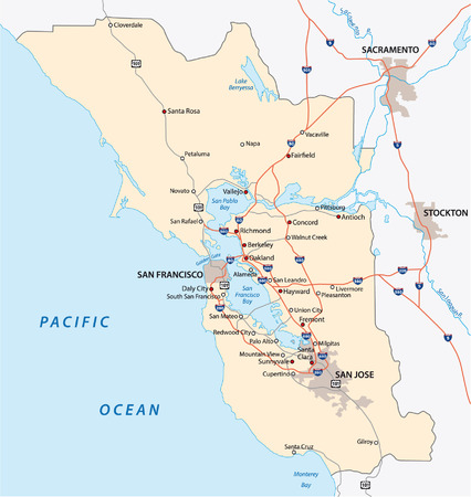 superficie: San Francisco mapa área de la bahía Vectores