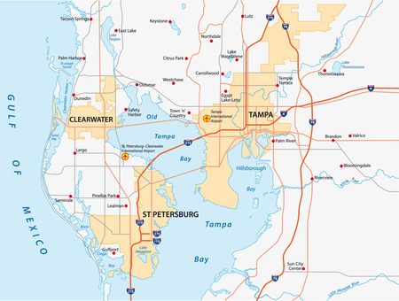 st petersburg: tampa bay area map