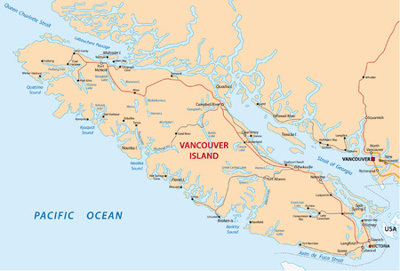 vancouver island road map Vector