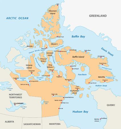 ヌナブト準州地図  イラスト・ベクター素材